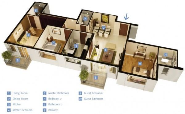 三居室户型装修3d布局效果图欣赏(4)