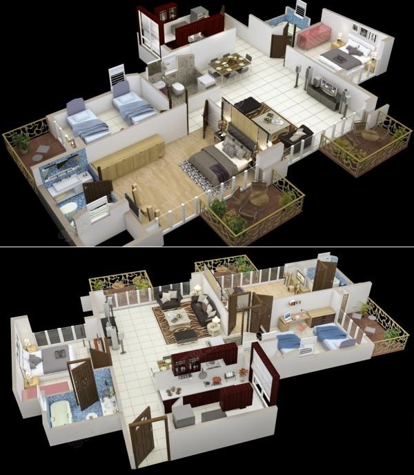 三居室户型装修3d布局效果图