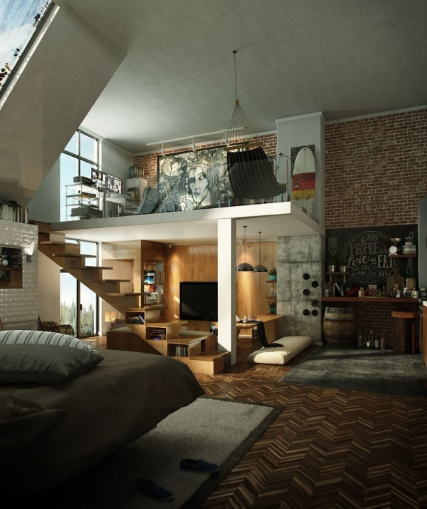 15 Amazing Interior Design Ideas For Modern Loft: 国外Loft阁楼设计欣赏
