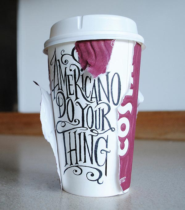 draper:咖啡杯上的创意艺术字体设计(2)
