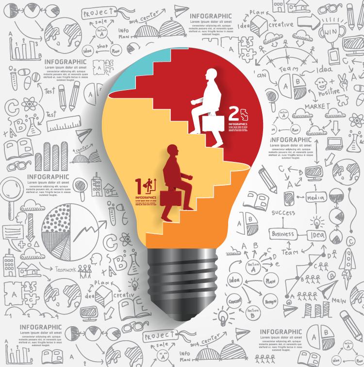 灯泡和手绘信息图背景矢量素材