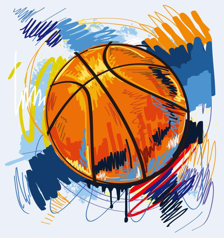 动感手绘篮球矢量素材 - 设计之家