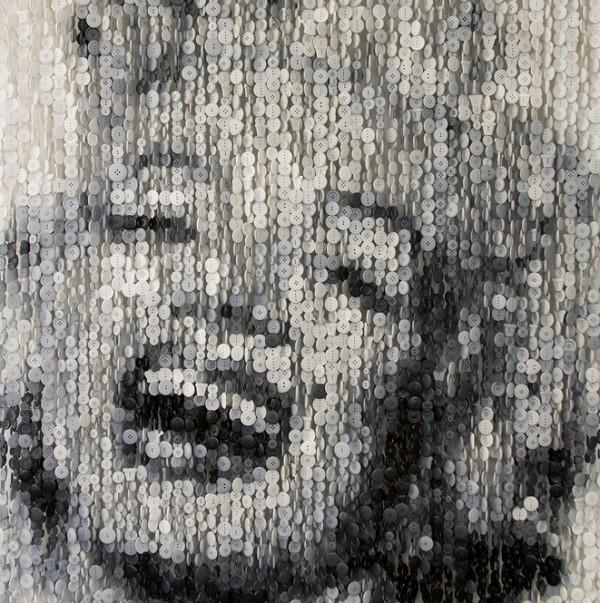 美国艺术家Augusto Esquivel:纽扣创作名人肖像