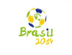 巴西世界杯手绘足球矢量素材