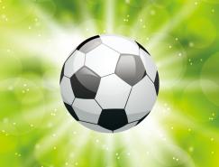 綠色光效足球背景矢量素材