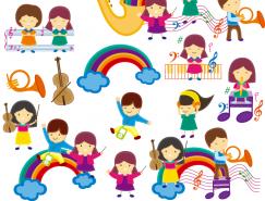 音乐主题卡通儿童矢量素材