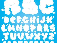 可愛雲朵字體矢量素材