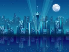高楼林立的城市夜景矢量素材