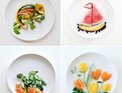 Lauren Purnell创新食物拼盘艺术画