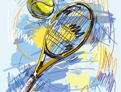 動感手繪網球拍矢量素材