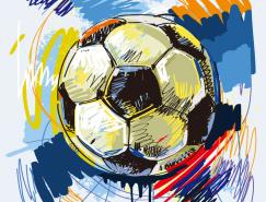 动感手绘足球矢量素材