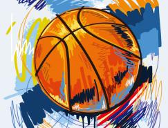 动感手绘篮球矢量素材