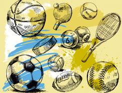 各种运动球类线描矢量素材