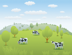 蓝天白云草地上奶牛矢量素材
