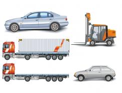 集裝箱車和叉車矢量素材