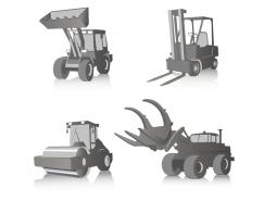 4个工程机械车矢量素材
