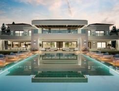 拥有室外泳池和网球场的西班牙豪华别墅设计