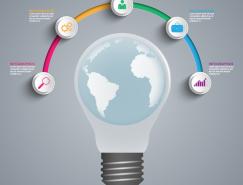 灯泡地球信息图表矢量素材