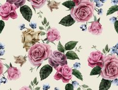 複古風格玫瑰背景矢量素材