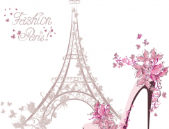 花蝶环绕的埃菲尔铁塔和高跟鞋矢量素材