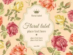 複古風格玫瑰花背景標簽矢量素材