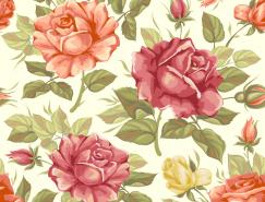 复古玫瑰无缝背景矢量素材