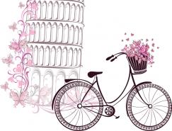 手绘比萨斜塔和自行车矢量素材