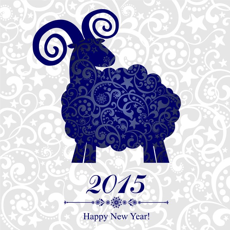 新年,羊,花纹背景,矢量图