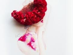 水彩与花朵的融合:马来西亚艺术家Zhi Wei花卉创意插画