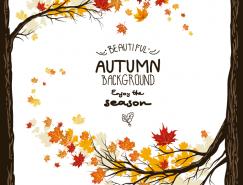 秋季红叶背景矢量素材(2)