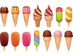 冰棒和甜筒冰淇淋矢量素材