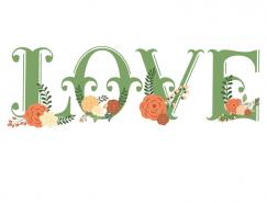 浪漫LOVE裝飾字體矢量素材