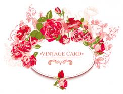 複古風格紅玫瑰卡片矢量素材
