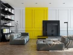 清新黄色点缀的现代公寓欣赏