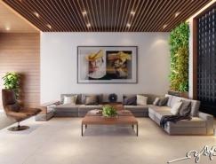 亲近自然的室内皇冠新2网:精致的木质主题和室内垂直花园