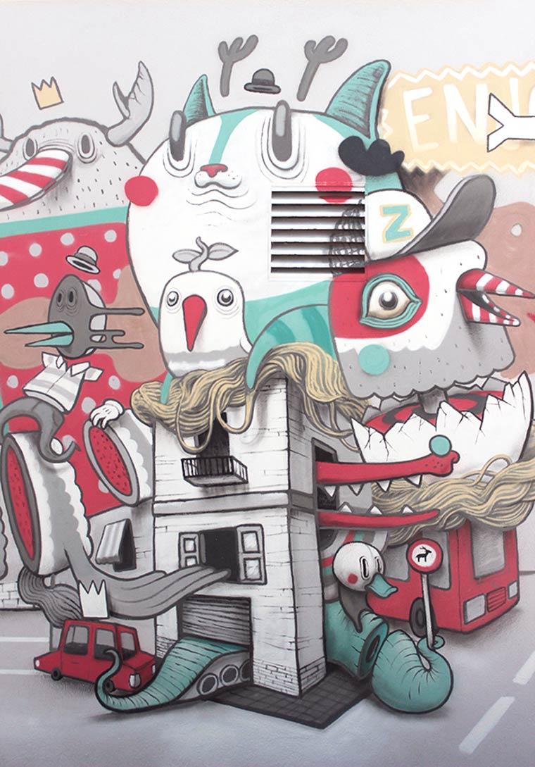 诡异和幻想的动物:街头艺术家dulk作品欣赏(2)