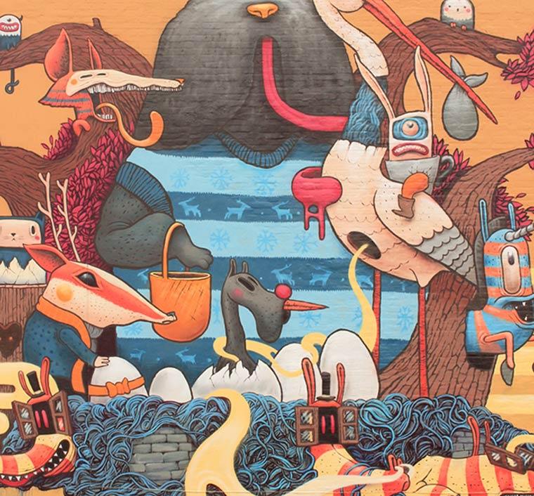 诡异和幻想的动物:街头艺术家dulk作品欣赏