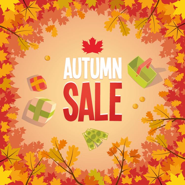 红叶背景秋季促销海报矢量素材