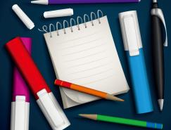 記號筆 鉛筆和記事本矢量素材
