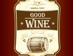 複古風格葡萄酒標簽設計矢量素材