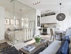 漂亮的玻璃墙卧室:瑞典34平米小公寓设计