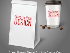 紙袋和咖啡杯模板矢量素材