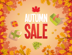 紅葉背景秋季促銷海報矢量素材