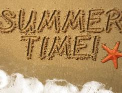 利用画笔描边及图层样式制作沙滩划痕字