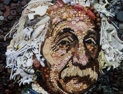 Jane Perkins回收物品拼贴肖像艺术作品