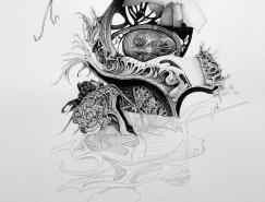 Philip Frank超现实风格钢笔画作品