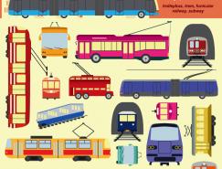 公共交通工具:电车和地铁矢量素材