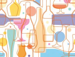 线描红酒元素背景矢量素材