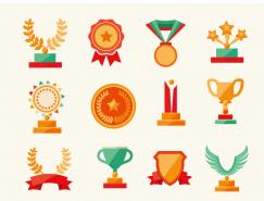 扁平風格獎杯與獎牌圖標矢量素材
