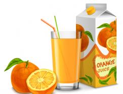橙汁包裝和果汁矢量素材